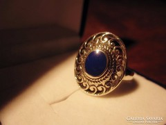 Szecessziós filigrán lápisz lazulis ezüst gyűrű