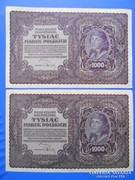 Lengyelország sorszámkövető 1000 marek 1919 XF