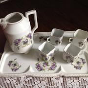 Ibolyás antik kávéskészlet 4 személyes