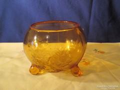 Talpas barna üveg kínáló tál A047