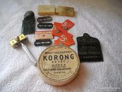Antik borotválkozási kellékeke, cimkék, pengék eladók!