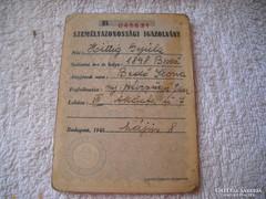 1945-ös személyazonossági bizonyítvány eladó!