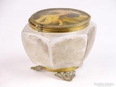 0K655 Antik réz lábas üveg szelence portréval