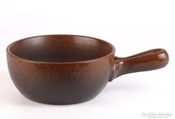 0K626 Régi barna színű vastagfalú cserép sütőtál