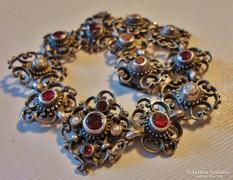 Különleges antik gyöngyös gránátköves ezüstkarék