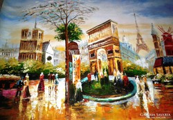 Paris is a lot of themed special big painting, oil painting 1 m