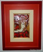 Nő pirosban - tűzzománc kép