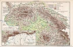 A Kárpátok térkép 1894, eredeti, régi, antik, Pallas