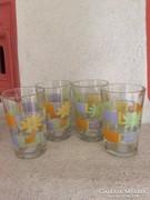 4 db virágmintás üvegpohár (26)