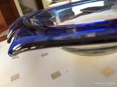 Kék, nagy, kézzel készül üveg tál, kínáló, asztalközép (20B)