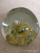 Antik nagyméretű üveg levélnehezék felirattal _P5(94)