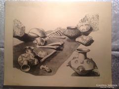 Dékány Ágoston (1948-2015) Régészeti maradványok, litográfia