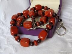 AKCIÓ! Vintage jáspis gyöngysor, kézműves kapoccsal