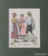 Bajor népviseletben - Ober Bayern (gyönyörű német akvarell)