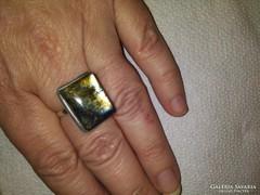 Csodálatos ezüst, óriás labradorit köves gyűrű