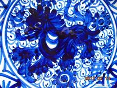 Máz alatt kobaltkékkel festett-spanyol falitál-18,3 cm