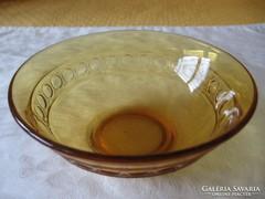 Art deco borostyán színű kompótos tálka