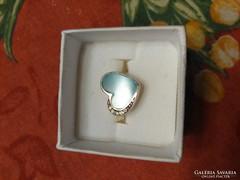 Szív alakú tűzzománc betétes ezüst gyűrű