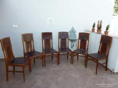 Magas támlás art deco székek, 6db