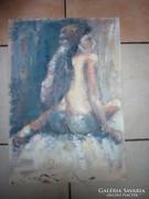 Hátakt, hosszúhajú barna lány, olaj-karton, K jelzéssel