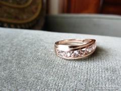 MORGANIT! Páratlanul különleges és ritka drágaköves rózsa arany gyűrű
