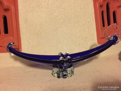 Kék millefiori muránói üvegtálka - art glass bowl (13A)