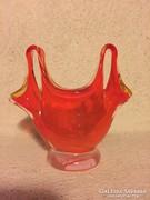 Muránói üvegtálka, váza, póló formájú - art glass vase (13A)