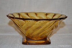Borostyán színű üveg kínáló ( DBZ 0069)