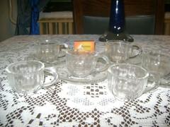 Retro üveg kávés készlet - hat csésze, négy tányér
