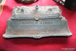 Századfordulós bronz tintatartó - kis patinával