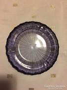Öntött üveg hamutartó, üveg tálka,lila, glass ashtray (12 A)