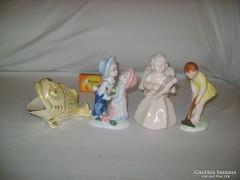 Porcelán és kerámia figura - négy darab