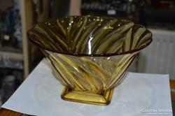 Sárga öntött üveg tál