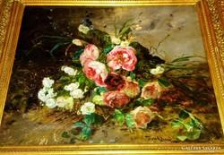 BENKHARD ÁGOST 1882 - 1961 Virágcsendélet festménye