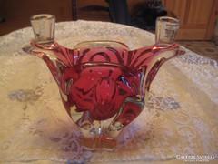 Muránói váza gyertyatartóval szép állapot