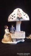Barokk pár zongoránál jelzett porcelán lámpa