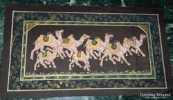Indiai selyemkép festmény Tevék - teve sereg