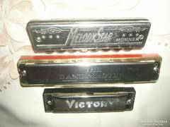 3 db régi szájharmonika Hohner Victory  Bandmaster