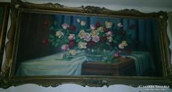 Nagyméretű Rózsás csendélet, olajfestmény szignózott!