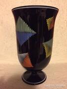 Retro fekete kézzel festett üveg váza -black glass vase (36)