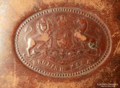 Antik címeres(Angol Királyi címeres)bőr szivartartó