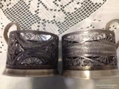Art deco félezüst ezüstözött filigrán tea pohár tartó RETRO