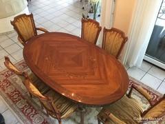 Intarziás empireXVI.Lajos stilusú étkezőasztal 6 székkel