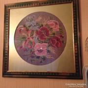 Gobelin kép - Virágok (régi kézimunka - új keretben)