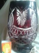 Bordó csiszolt kristály váza