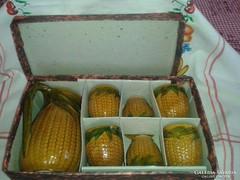 Magyarszombatfai kukorica mintás boros kerámia készlet,saját dobozában
