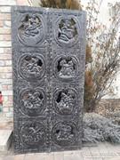 Antik indiai keményfa faragás, relief Káma Szutra