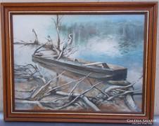 Mraz János Dunai táj olaj festmény olajfestmény