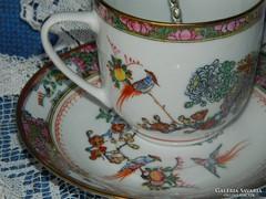 Régi különleges kínai porcelán csésze és alj, teás szett
