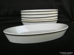 6 db Zsolnay porcelán ovális tányér